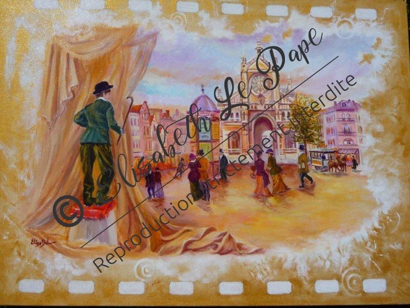 Bruxelles ( 60 X 81) - Jacques Brel - Peinture ELisabeth Le Pape